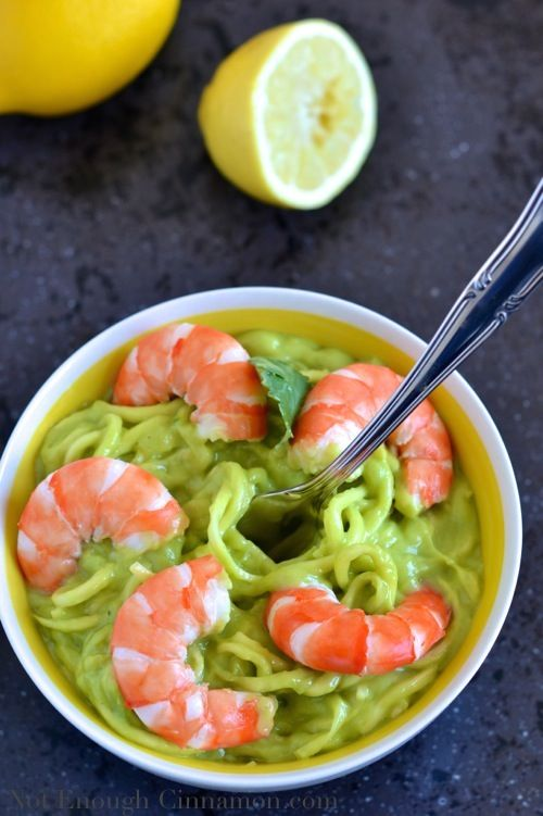 http://notenoughcinnamon.com/2014/03/12/zucchini-pasta-creamy-avocado-sauce-shrimps/